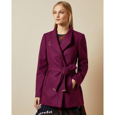 Short Belted Wool Wrap Coat