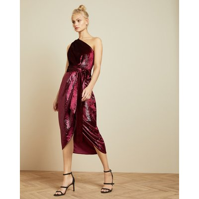 Metallic One Shoulder Draped Midi Dress