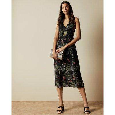 Highland Tiered Pleated Midi Dress