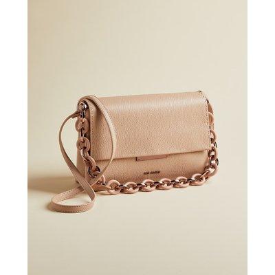 Leather Resin Chain Shoulder Bag