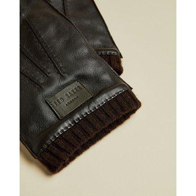 TED BAKER Handschuhe Aus Leder Mit Rippstrickbündchen