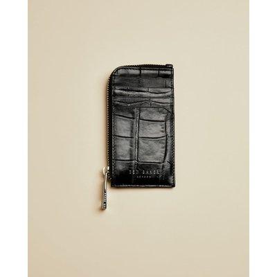 Metallic Leather Zip Around Wallet