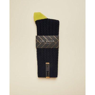 Semi Plain Cotton Socks, Navy