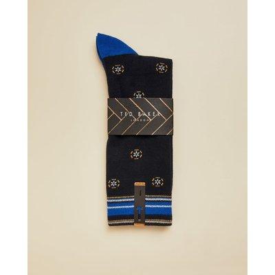 Geo Print Cotton Socks, Navy