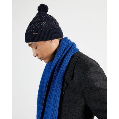 TED BAKER Fair Isle Knitted Bobble Hat