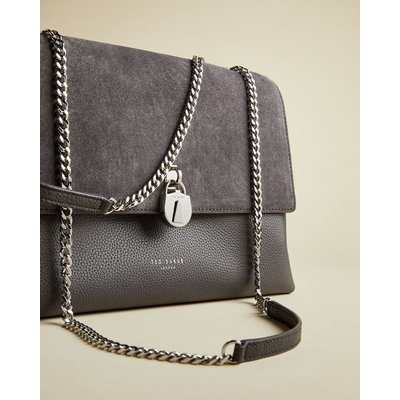 Suede Padlock Shoulder Bag