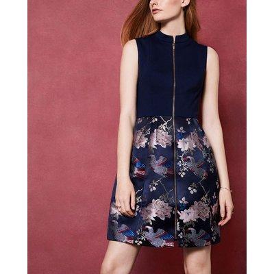 Chinoiserie Jacquard Zipped Dress