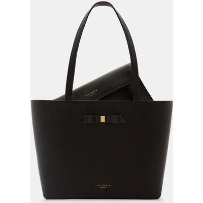 Bow Detail Leather Shopper Bag