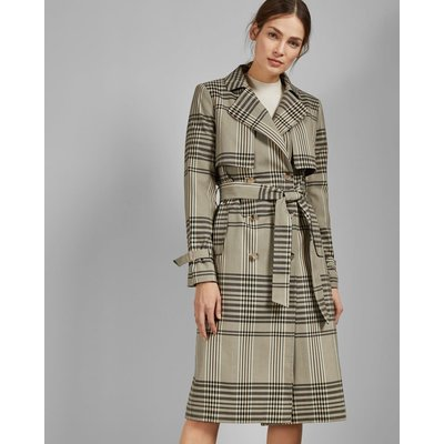 Buckle Cuff Check Trench Coat