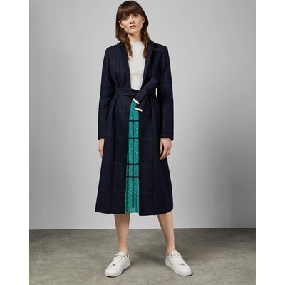 Checked Cuff Detail Trench Coat