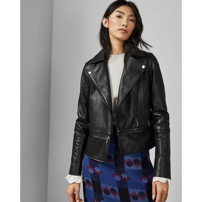 Zip Hem Leather Biker Jacket