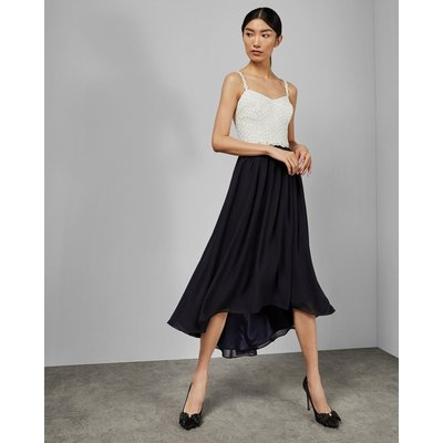 Daisy Dip Hem Pleat Midi Dress
