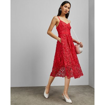 Mixed Lace Midi Dress