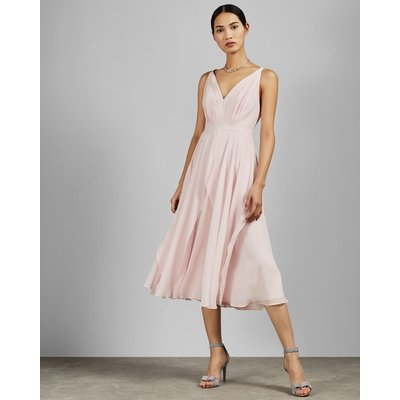V Neck Georgette Midi Dress