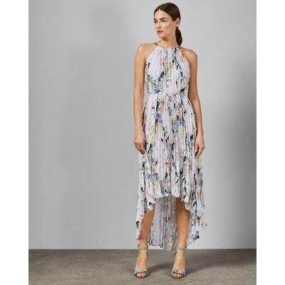 Elegant Pleated Dip Hem Dress
