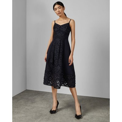 Mixed Geo Lace Midi Dress