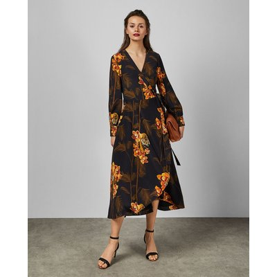 Caramel Printed Wrap Dress
