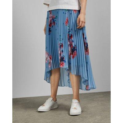 Raspberry Ripple Pleated Midi Skirt