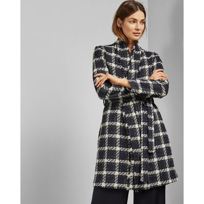Knee Length Boucle Belted Coat