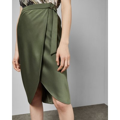 Belted Wrap Midi Skirt