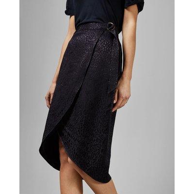 Belted Wrap Leopard Midi Skirt