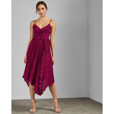 Strappy Pleated V Neck Dress