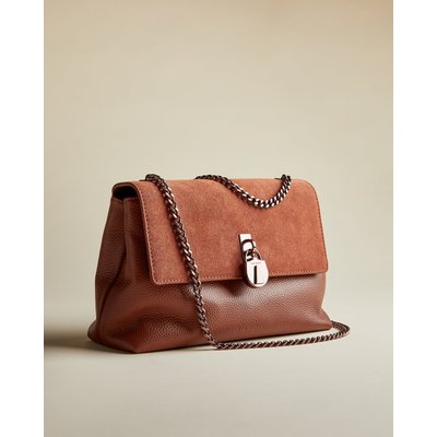 Suede Padlock Cross Body Bag