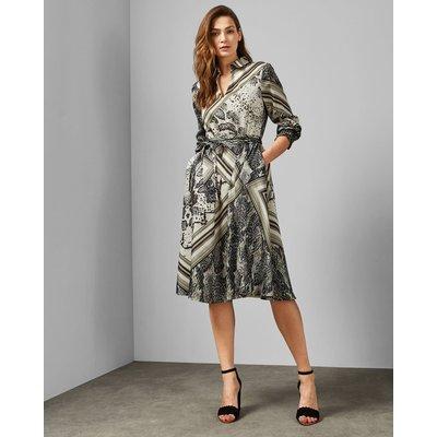 Shirred Waist Midi Shirt Dress