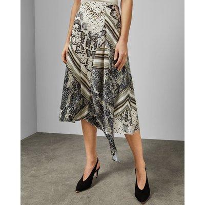 Snake Print Asymmetric Skirt
