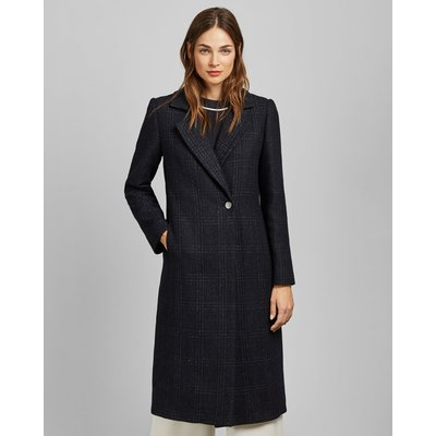 Checked Wool Long Coat