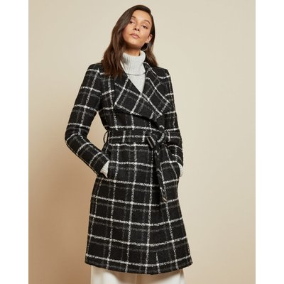 Checked Belted Wrap Coat