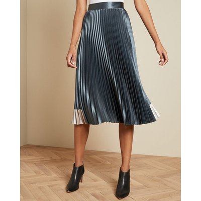 Contrast Panel Pleated Midi Skirt