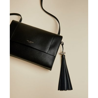 Leather Tassel Detail Cross Body Bag