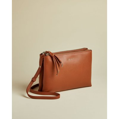 Double Pouch Leather Cross Body Bag