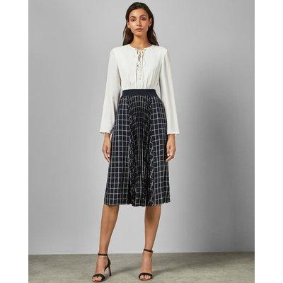 Midi Dress With Check Skirt