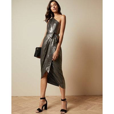 One Shoulder Draped Midi Dress