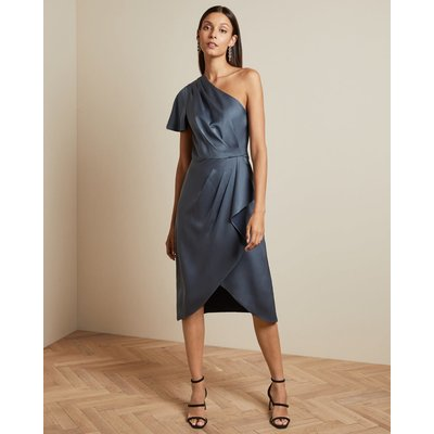 Waterfall Skirt One Shoulder Dress