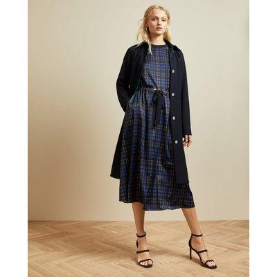 Checked Midi Dress With Drawstring Waist