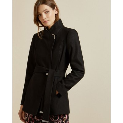 Short Belted Wool Wrap Coat