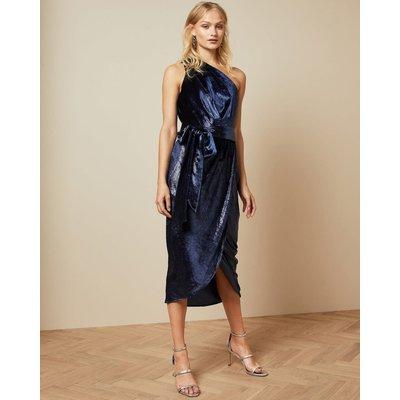 Metallic One Shoulder Draped Midi Dress