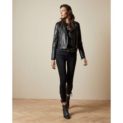 Zip Leather Biker Jacket