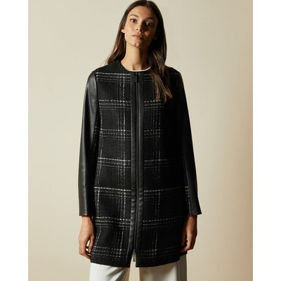 Faux Leather Sleeve Checked Coat