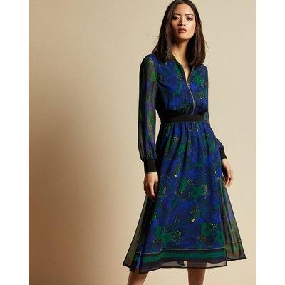 Stargaze Zip Front Rib Cuff Midi Dress