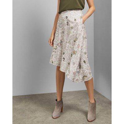 Eyelet Detail Asymmetric Midi Skirt
