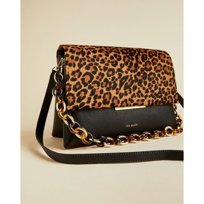 Resin Chain Leopard Print Shoulder Bag