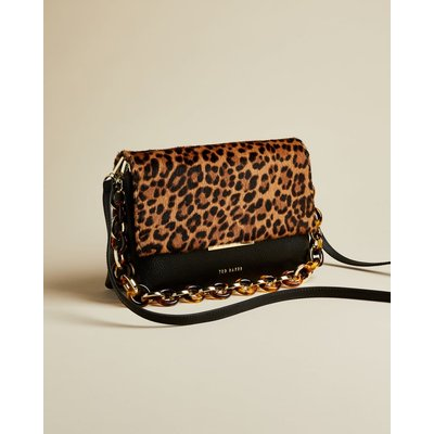 Faux Fur Detail Leather Shoulder Bag
