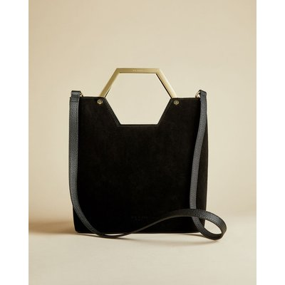 Leather And Suede Hexagon Handle Shopper Bag