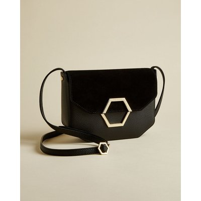 Leather And Suede Hexagon Detail Cross Body Bag