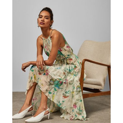 Birds Of Paradise Pleated Midi Dress