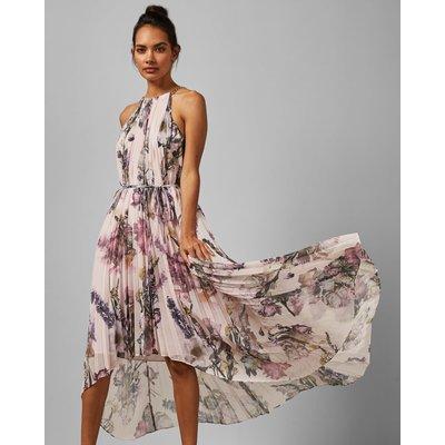 Torchlit Floral Pleated Midi Dress